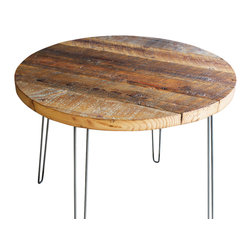 Mt Hood Wood Works - Round Antique Barnwood Coffee Table With Hairpin Legs - Round Coffee Table made from Antique Reclaimed Barnwood with hairpin legs. This antique barnwood is approx a century old and is filled with character.
