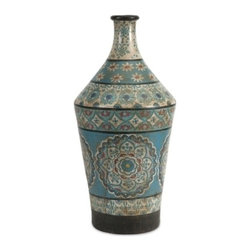 Kabir Large Hand Painted Vase - *Globally inspired, this large hand painted vessel from India spices up any room with rich indigo contrasts and red accents.