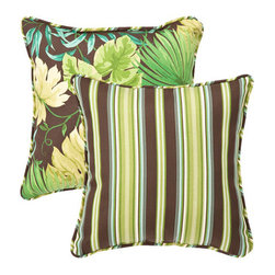 Pillow Perfect - Decorative Green/Brown Tropical/Striped Toss Pillows Square Reversible  Set of T - - Green/Brown  - 100% Polyester  - 100% Virgin Recycled Polyester Fill  - Self-Cord Edge  - Fade Resistant Mildew Resistant UV Protection Water Resistant Weather Resistant  - Made in USA Pillow Perfect - 353401