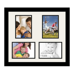ArtToFrames - ArtToFrames Collage Photo Frame  with 4 - 5x7 Openings and Satin Black Frame - Your one-of-a-kind photos deserve one-of-a-kind frames, but visiting a custom frame shop can be time consuming and expensive. ArtToFrames extensive and growing line of inexpensive multi opening Photo Mats will get you the look you want at a price you can afford. Our Photo Mats come in a variety of sizes and colors and can be custom made to your needs. Frame choices range from traditional to contemporary, with both single and multiple photo opening mat options. With our large selection of custom frame and mat choices, the design possibilities are limitless. When you're done, you'll have a unique custom framed photo that will look like you spent a fortune at a frame shop. Your frame will be delivered directly to your front door or sent as a gift straight to your recipient.