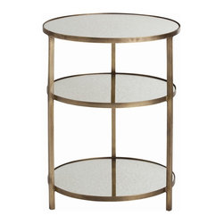 Arteriors - Percy End Table - Round 3-tier iron accent table with an antique brass finished frame and antiqued mirror shelves. This is the perfect table to situate next to a chair and can hold everything you may need: a lamp, magazines, notebooks, remote controls or a sculpture.