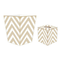 """Marye Kelley - Marye Kelley Tan Chevron Decoupage Wastebasket with Optional Tissue Box, 12"""" Flu - This is a handmade decoupage wastebasket with optional tissue box.  All items are handmade in the USA.  There are three different styles available.  There is the 12"""" Fluted Tin Design, the 11"""" Square Design with a flat top or the 11"""" Square design with a scalloped top.  Coordinating tissue boxes may also be made. Please note all items are custom made and may not be returned."""