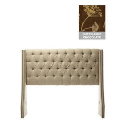 Home Decorators Collection - Custom Dale Upholstered Headboard - The elegantly tapered wingback design of our Custom Dale Upholstered Headboard is enhanced by deep diamond tufting. Each wing is embellished with an intricate double line of nail button trim. Customize this swoop arm fabric headboard by selecting from our wide range of top-quality, beautiful fabrics. Includes diamond tufting and nailhead trim. Includes hardware to attach to most standard bed frames. Assembled to order in the USA and delivered in 4-6 weeks. Spot clean only.