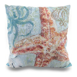Zeckos - Reversible Boho Coastal Print Starfish Indoor/Outdoor Canvas Throw Pillow 18 in. - A perfect addition to homes with a coastal theme, this 100% polyester Climaweave weather resistant reversible decorative canvas throw pillow will add a lovely accent anywhere inside your home or out featuring a printed image of a big starfish on one side, and a boho inspired print on the other on a lightly striped blue and green background. The pillow measures 18 inches by 18 inches (46 x 46 cm), and would look amazing tossed on the couch, in your favorite chair on the patio or highlighting your garden bench. It is recommended to spot clean only. It's a great housewarming gift idea any oceanic enthusiast is sure to admire!