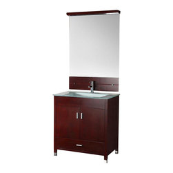 "Legion Furniture - 32 Inch Modern Single Sink Bathroom Vanity - This 32 inch modern single sink bathroom vanity is a perfect center piece for your bathroom project. This Cherry Espresso bathroom vanity features 2 doors, 1 drawer and a tempered glass counter top with integrated sink that is pre-drilled for a single hole faucet (faucet not included). Large opening in back for easy plumbing installation. Mirror NOT included.  Dimensions: 32""W  X 21.2""D X 34""H (Tolerance: +/- 1/4""); Counter Top: Tempered Glass; Finish: Cherry Espresso; Features: 2 Doors, 1 Drawer; Hardware: Brushed Nickel; Sink(s): 20"" Glass Integrated; Faucet: Pre-Drilled for Single Hole (Not Included); Assembly: Assembly Required; Large cut out in back for plumbing; Included: Cabinet, Sink; Not Included: Faucet, Backsplash, Mirror (31.4"" X 45.2"")."