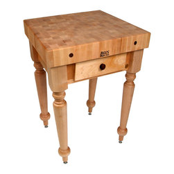 John Boos - John Boos Maple Rustica Butcher Block - John Boos Rustica maple, end-grain butcher block table. 4-inch thick block on finely carved legs. Dovetailed drawer(s). 13 color choices for base..