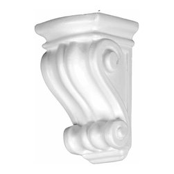 Renovators Supply - Corbels White Urethane Corbel 5 1/4 H x 3 1/8 W | 12394 - Corbels: Made of virtually indestructible high-density urethane our pilasters are cast from steel molds guaranteeing the highest quality on the market. High-precision steel molds provide a higher quality pattern consistency, design clarity and overall strength and durability. Lightweight they are easily installed with no special skills. Unlike plaster or wood urethane is resistant to cracking, warping or peeling.  Factory-primed pilasters are ready for finishing. Measures 5 1/4 inch high x 3 1/8 inch wide.