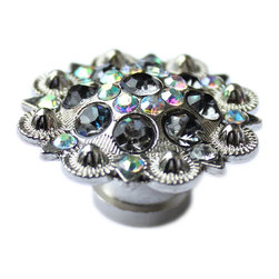 DaRosa Creations - Crystal Drawer Knob with Grey and Iridescence Crystals - Crystal Drawer Knob with Grey and Iridescence Crystals