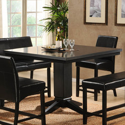Homelegance - Homelegance Papario Square Counter Height Table in Black - The need for flexibility is fulfilled with the Papario Collection. With multiple configuration possibilities  the black finished counter height nook set provides the style and function your space needs. Made of select hardwoods and veneers  covered in black bi-cast vinyl.