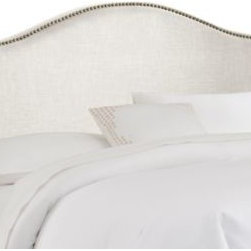 Skyline Furniture - Skyline Nail Button Arched Headboard in Talc - A fashionable upgrade for the boudoir. Upholstered in soft, luxurious linen with decorative brass nail buttons embellishing its curvaceous silhouette, this headboard imparts irresistible style and will quickly become a showpiece of any bedroom.