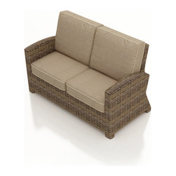 Forever Patio - Cypress Modern Patio Loveseat, Spectrum Mushroom Cushions - The Forever Patio Cypress Rattan Patio Loveseat with Beige Sunbrella cushions (SKU FP-CYP-LS-HR-SM) seats up to 2 people, featuring contoured armrests that provide additional comfort and style. The heather-colored resin wicker is UV-protected, and features subtly muddled tones for a varied, natural look. Each strand of this outdoor wicker is made from High-Density Polyethylene (HDPE) and is infused with its rich color and UV-inhibitors that prevent cracking, chipping and fading ordinarily aused by sunlight. This modern outdoor wicker loveseat is supported by thick-gauged, powder-coated aluminum frames that make it more durable than natural rattan. This loveseat includes fade- and mildew-resistant Sunbrella cushions for added comfort in your outdoor space.