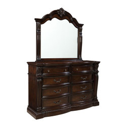 Standard Furniture - Standard Furniture Churchill 8-Drawer Dresser with Mirror in Antique Bronze - Magnificent details give Churchill Bedroom a grand and stately character that's sure to create a stunning master retreat in today's traditional home.