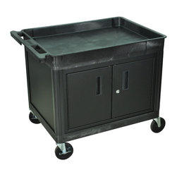 """Luxor - Luxor Tub Cart - TC12C-B - These Luxor TC series utility carts are made of high density polyethylene structural foam molded plastic shelves and legs that won't stain, scratch, dent or rust. Features a retaining lip around the back and sides of flat shelves. Includes four heavy duty 5"""" casters, two with brake. Has a push handle molded into the top shelf."""