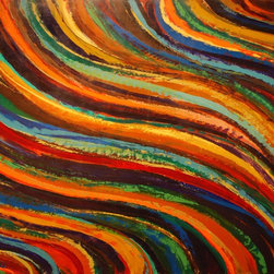 """Sarah Gentry - """"Wave on Wave"""" Original Oil and Wax Painting - This is an original oil and wax painting on board with 2"""" frame. The frame is natural wood."""
