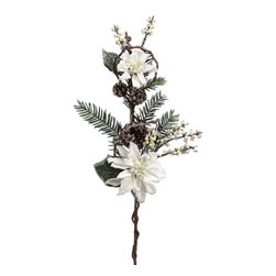 Silk Plants Direct - Silk Plants Direct Iced Pine Cone, Poinsettia and Pine (Pack of 6) - White - Pack of 6. Silk Plants Direct specializes in manufacturing, design and supply of the most life-like, premium quality artificial plants, trees, flowers, arrangements, topiaries and containers for home, office and commercial use. Our Iced Pine Cone, Poinsettia and Pine includes the following: