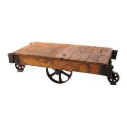 Industrial Loft Reclaimed Railroad Cart Coffee Tables