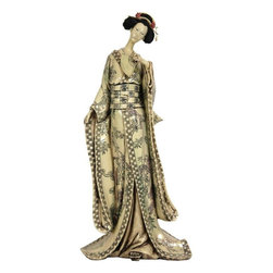 "Oriental Furniture - 18"" Geisha Figurine w/ Bamboo Tree Kimono - This lovely faux whale bone figurine is crafted from excellent quality heavy ivory colored resin, her robe is carved in the traditional scrimshaw of ancient Japanese netsuke. Her hair and pins are hand painted, cast in one of the classic ""shimada"" hairstyles. Geishas are sometimes thought of in the West as courtesans; a common misunderstanding of this uniquely Japanese institution. The geisha are said to have provided feminine warmth and companionship, conversation and service, rather than physical affection."