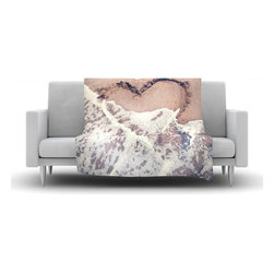 """Kess InHouse - Nastasia Cook """"Heart in the Sand"""" Beach Fleece Blanket (50"""" x 60"""") - Now you can be warm AND cool, which isn't possible with a snuggie. This completely custom and one-of-a-kind Kess InHouse Fleece Throw Blanket is the perfect accent to your couch! This fleece will add so much flare draped on your sofa or draped on you. Also this fleece actually loves being washed, as it's machine washable with no image fading."""