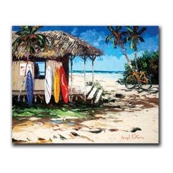 "Joseph LaPierre - Surf Hut 18 x 24 Print - ""Surf Hut"" is a tropical canvas giclee by Joseph LaPierre. This 18 x 24 canvas is gallery wrapped. We take the fine art canvas and stretch it over a wooden frame, adhering the canvas to the backside of the frame. The canvas actually wraps around the edges of the frame, giving your print the look of a fine piece of art, such as you might find in an art gallery. There is no need for a picture frame. Your piece of art is ready to hang or lean against a wall, or display on an easel."