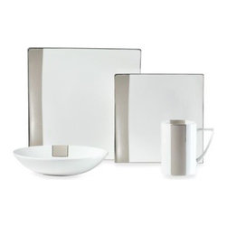 Mikasa - Mikasa Shimmer Square 4-Piece Dinnerware Place Setting - Shimmer Square bone china is the height of modernity and sophistication, with squared yet curved shapes and an eye-catching beige band accenting each piece