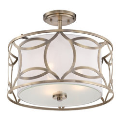 "Lamps Plus - Traditional Roxbury 16"" Wide Antique Brass Ceiling Light - Offer your home a sense of geometric appeal with this contemporary semi-flushmount ceiling light full of eye-catching versatility and style. An outer metal shade finished in antique brass surrounds an diffuser shade that ensures glare free illumination and ambiance. Perfect for nearly any area of your home. Roxbury semi-flushmount ceiling light. Geometric outer metal shade. Antique brass finish. Inner diffuser shade. Three maximum 60 watt or equivalent bulbs (not included). 16"" wide. 12"" high.   Roxbury semi-flushmount ceiling light.  Geometric outer metal shade.  Antique brass finish.  Inner diffuser shade.  Three maximum 60 watt or equivalent bulbs (not included).  16"" wide.  12"" high."