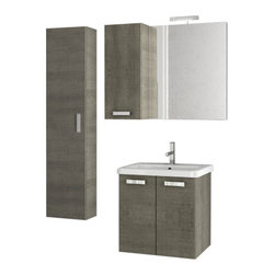 ACF - Grey Oak Vanity Set With 2 Storage Cabinets - With a contemporary style, this all inclusive vanity set is perfect for your master bathroom.