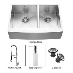 Vigo - Vigo Farmhouse Stainless Steel Kitchen Sink, Faucet, Two Strainers and Dispense - Give your kitchen a makeover starting with a Vigo Undermount Stainless Steel Kitchen Set.