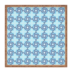 DENY Designs - Lara Kulpa Blue Diamond Flower Square Tray - With DENY's multifunctional square tray collection, you can use it for decoration in just about any room of the house or go the traditional route to serve cocktails. Either way, you''_''__ll be the ever so stylish hostess with the mostess!