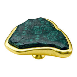 Malachite Pull on Gilt Base - A little bit goes a long way, as in this oversize knob that measures 5 inches across. It could be the pièce d'résistance on any custom cabinet.