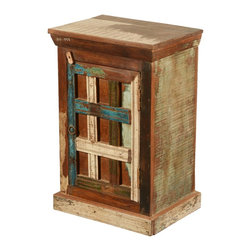 """Sierra Living Concepts - New Memories Rustic Reclaimed Wood Mini End Table Cabinet - This classic closed cabinet night stand carries the history of old wood and traditional design. Our New Memories Mini Cabinet measures 18"""" long, 13"""" wide and 28"""" tall so it fits neatly between beds and into corners or small spaces. It's a smart way to expand your storage space in the bedroom or entryway."""