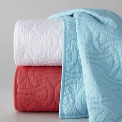 "Trina Turk - Trina Turk Twin Quilt, 66"" x 86"" - You can always count on Trina Turk for vibrant bedding with modern flair. Case in point: the ""Santorini"" quilt in Turquoise, White, or Coral. Made of 205-thread-count cotton sateen. Select color when ordering. Machine wash. Imported."
