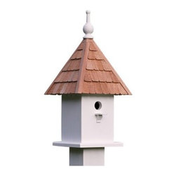 Lazy Hill Farms Loretta Bird House - A delight in the garden, the Lazy Hill Farms Loretta Bird House is loaded with classic charm. This detailed bird house is crafted of solid cellular vinyl in white, which has the look and feel of genuine wood without the maintenance. It features an adorable redwood shingle roof that comes off for easy cleaning and this bird house comes complete with a metal plate for post mounting.About Lazy Hill Farm Designs Lazy Hill Farm Designs is a leader in garden and birding accessories. They are known for turning exquisite designs into exceptional quality garden accessories. All Lazy Hill Farm products are made of solid cellular vinyl that looks and feels like genuine wood yet requires no maintenance. All the roofs are removable for easy cleaning and each one is handcrafted in America. These are among the finest garden accessories on the market.