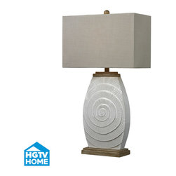 HGTV HOME - HGTV HOME HGTV250 Hgtv Home 1 Light Table Lamps in Fauborg Glaze With Light Wood - Off-White Glazed Ceramic Table Lamps with Natural Wood Tone Accents