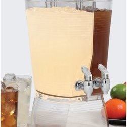 Creative Bath 3 gal. Double Beverage Dispenser - Perfect for parties and other special events, the Creative Bath 3 gal. Double Beverage Dispenser allows your guests to help themselves to a cool, refreshing drink of their choice. Lightweight and easily portable, this attractive beverage dispenser has a handy two-reservoir design, so you can fill each side with a different beverage. Each side holds 1.5 gallons for a total of 3 gallons. Made in the USA from durable, clear acrylic, this beverage dispenser features two spigots and a wide-mouth lid that makes it easy to fill with juice, tea, soda, sangria, and more.About Creative BathFor over 30 years, Creative Bath has developed innovative, stylish bathroom decor items. They have grown exponentially, and now you can find their products in major retail and online stores around the world. From shower curtains to soap dishes and everything in between, Creative Bath brings you high quality items to enhance your lifestyle.