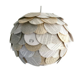Zipper 8 Lighting - The Manhasset Mixed Book Page Pendant, Shade Only - The Manhasset Collection's Mixed Book Page Pendant is a fun pendant lamp shade is created by applying circular pieces from assorted paperback books to a round paper lantern. The shade glows warmly when lit up, allowing light to filter through the layers of paper. Each pendant features a variety of white, gray and tan pages.