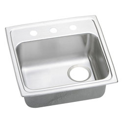 "Elkay - 19"" x 18"" x 6"" Single Bowl Kitchen Sink - Product height: 26.13. Product min width: 7.94. Product depth: 19.4418. Gauge stainless steel 19"" x 18"" x 6"" single bowl top mount kitchen sink. Elevate the culinary experience with the professional grade gourmet collection. Gourmet (lustertone) stainless steel single bowl top mount quick-clip sink. Quick-clip mounting system."