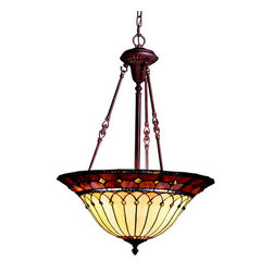 Kichler - Kichler 65187 Dunsmuir 3-Bulb Indoor Pendant with Bowl-Shaped Glass Shade - Looking for that perfect light for your bedroom, foyer or utility This 3 light inverted pendant from the Art Glass Dunsmuir�� collection may be the answer. Showcasing a warm, art-nouveau style, this design features vivid earth-tone colors highlighted by stylized, curvilinear lines and an organic Tannery Bronze�� finish. Complete with vibrant gold accents, this fixture merges old world beauty with today�۪s high standards of quality. Product Features: