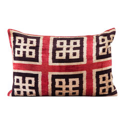"""Indigo&Lavender - 16"""" x 24"""" Silk Velvet Ikat Pillow, Black/Red - Made from Ikat textiles that are loomed from hand-dyed silk in Uzbekistan, along Marco Polo�۪s renowned Silk Road, each pillow has been hand-sewn in Istanbul, Turkey. The goose down fill ensures extra luxury. Solid linen backing and zipper."""