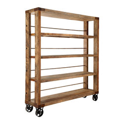 Recycled Pine Wood Bookcase - This bookcase has a lot of soul, as well as easy to maneuver casters, recycled pinewood shelves and metal framing. It's entirely handmade and hand-polished.