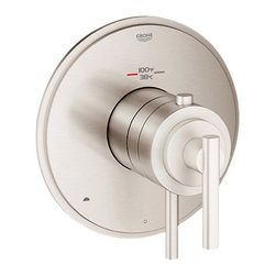 Grohe - Grohe 19849EN0 Timeless 2-Function Thermostatic Trim w/Control, Brushed Nickel - Grohe 19849EN0 from the Atrio Faucet Collection is styled in the understated Bauhaus movement, with simple yet stylish design elements adding balance to your bathroom. The Grohe 19849EN0 is a Timeless Dual Function Thermostatic Trim with Control Module With a Brushed Nickel Finish for an appearance set apart from the traditional chrome.