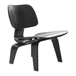 Modern Lounge Chair in Black - Graceful, modern, and ergonomic, this chair is a great way to add additional seating to your living room or to round off your home office. Sculpted and mounted with movement-absorbing energy shocks, the black sheen of the veneer exterior is as alluring as it is practical.