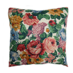 American Mills - Traditional Floral 24-Inch Floor Pillow - -Update your home decor with this decoratively functional floor pillow.  Comfortable pillow is ideal for floor, sofa or bed.  Spot Clean Only.  Made in USA. American Mills - 35748.998