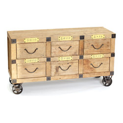 Wooden Almanac Farm Cabinet - Almanac Farm Cabinet is made from wood with metal accents and pulley wheels that allow ease in moving. Provides storage of important files, documents or, yikes, tax prep material on an annual basis. Also ideal for storing photos, yearly projects or just fun stuff. Versatile and movable.
