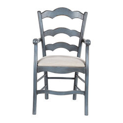 Ballard Designs - Genoa Armchair with Linen Seat - Crafted in Italy. Covered in heavy 12-oz. linen in your choice of color. Coordinates with our Genoa Stools. This comfortable armchair is hearty, generous and relaxing like a big Italian meal. The solid beech wood frame has a curved, scalloped ladder back and a wide, cushioned seat that begs you to linger over your morning cappuccino. Seat is removable for easy recovering of your own fabric. Part of our exclusive Casa Florentina collection, the Armchair is available in your choice of linen and several hand-applied finishes. Skilled Italian artisans apply your custom finish in layers, distressing each one by hand using the same simple tools and techniques employed by Florentine artists for centuries. Genoa Armchair features: . . .