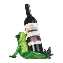 GSC - 10 Inch Green Frog Sitting Wine Holder - This gorgeous 10 Inch Green Frog Sitting Wine Holder has the finest details and highest quality you will find anywhere! 10 Inch Green Frog Sitting Wine Holder is truly remarkable.