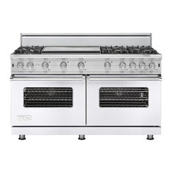 """Viking 60"""" Pro-style Gas Range, White Liquid Propane   VGCC5606GWHLP - This range is essentially two of the existing 30"""" VGCC ranges in one 60"""" unit. This is the first 24"""" deep 60"""" wide all gas range we have ever offered."""