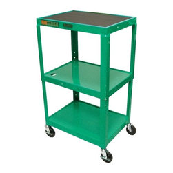 """Luxor - Adjustable Height  Open Shelf Table - Open shelf table with 4"""" casters. Features: -Roll formed shelves with powder paint finish -Tables are robotically arc welded -Cable pass through holes -1/4"""" retaining lip around each shelf -3-outlet, 15' UL and CSA listed electric assembly with cord plug snap -Choose from black, green, red, yellow, or royal blue -Weight: 48 lbs -Dimensions: 42"""" H x 24"""" W x 18"""" D"""