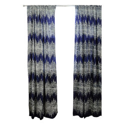 Ichcha - Killa Ikat Window Curtain - Block printed with natural dye Indigo on off white, light weight cotton window panel.