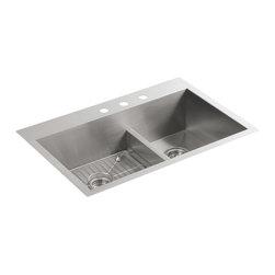 KOHLER - KOHLER K-3839-3-NA Vault Smart Divide Offset Sink - KOHLER K-3839-3-NA Vault Smart Divide Offset Sink