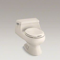 KOHLER - KOHLER Rialto(R) one-piece round-front 1.6 gpf toilet with Rim Jet flush technol - Curvy and compact, this one-piece toilet makes a strong design statement. A space-saving tank curves seamlessly into a round-front bowl for a low-profile silhouette. This toilet includes ergonomically designed seating, and a lid with an indented area to k